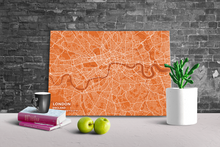Gallery Wrapped Map Canvas of London England - Subtle Burnt