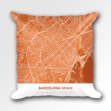 Map Throw Pillow of Barcelona Spain - Simple Burnt