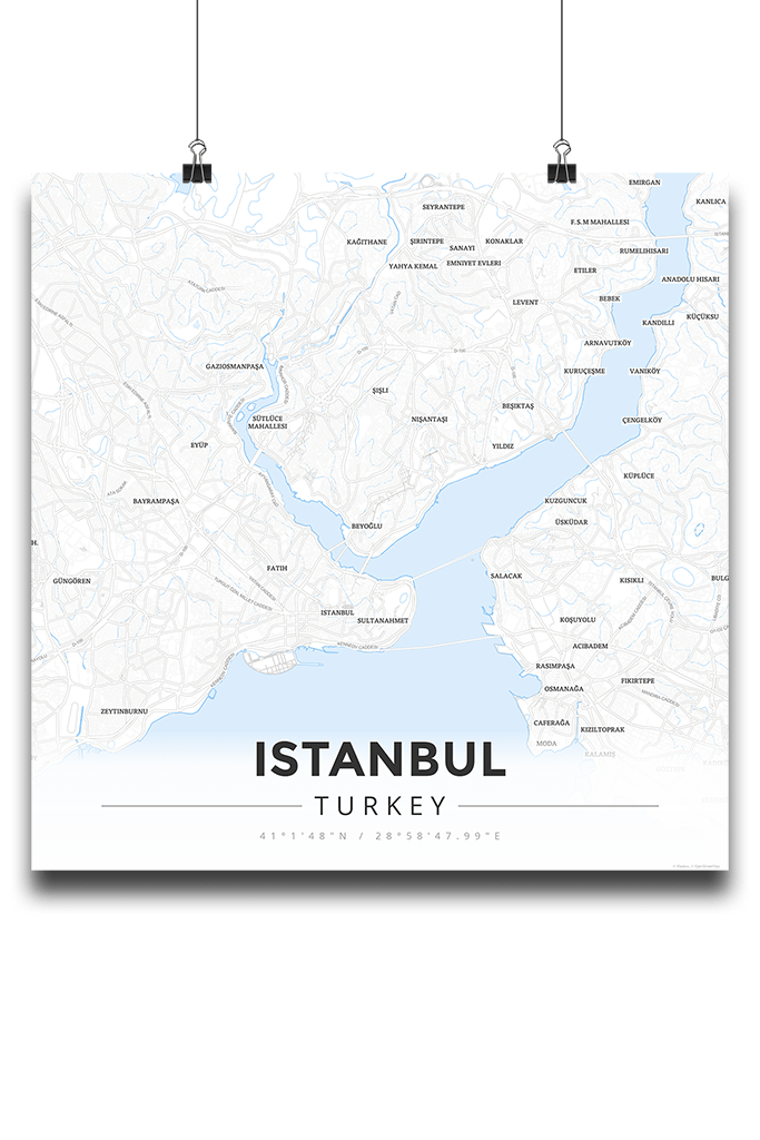 Premium Map Poster of Istanbul Turkey - Modern Ski Map - Unframed