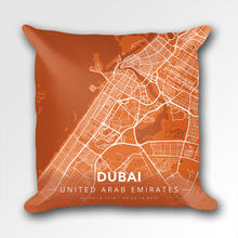 Map Throw Pillow of Dubai United Arab Emirates - Modern Burnt