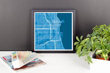 Framed Map Poster of Chicago Illinois - Subtle Blue Contrast - Chicago Map Art