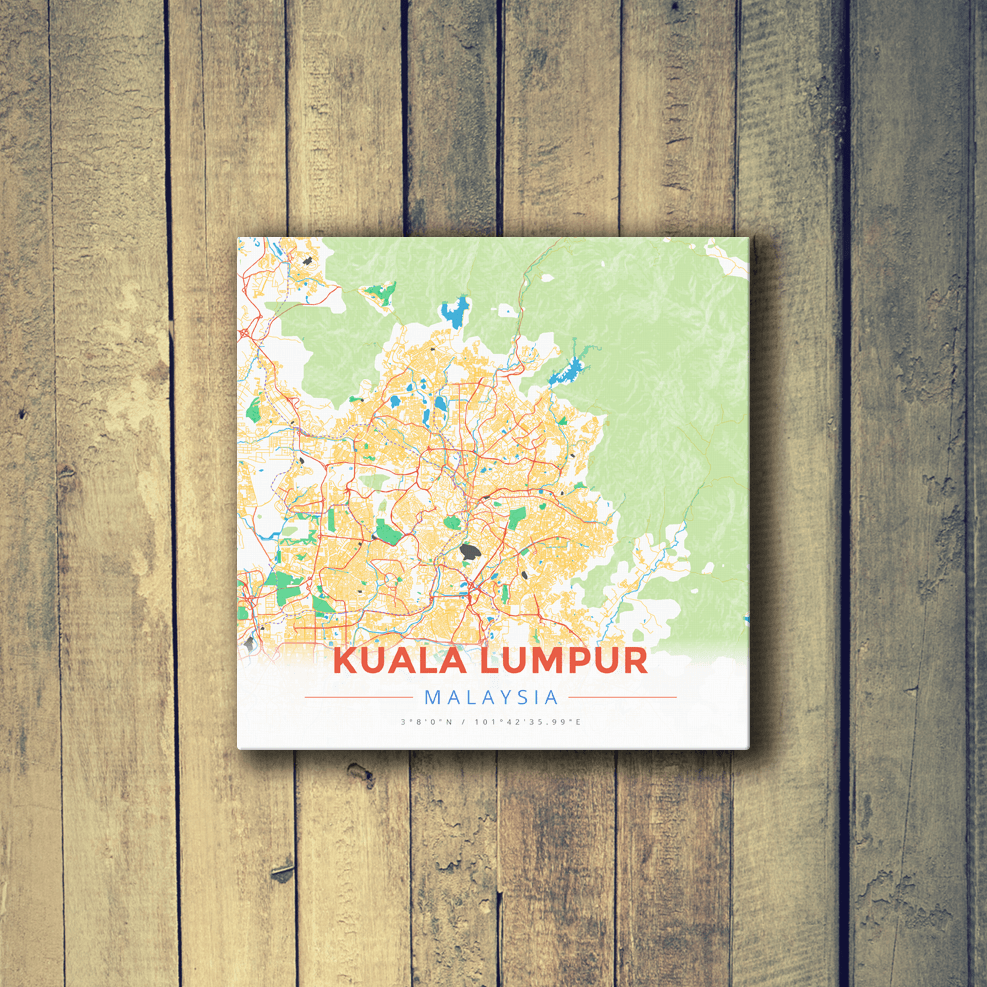 Gallery Wrapped Map Canvas of Kuala Lumpur Malaysia - Modern Colorful