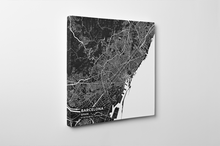 Gallery Wrapped Map Canvas of Barcelona Spain - Subtle Contrast