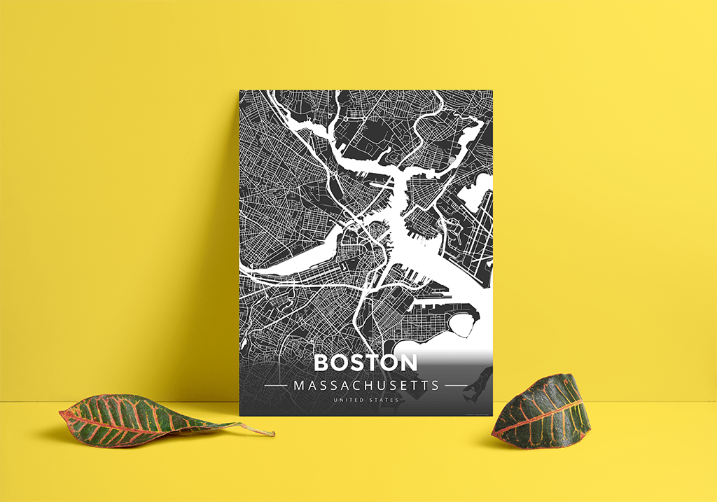 Premium Map Poster Of Boston Massachusetts Map Art Travel Decor