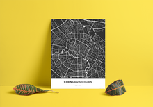 Premium Map Poster of Chengdu Sichuan - Simple Contrast - Unframed - Chengdu Map Art