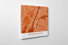 Gallery Wrapped Map Canvas of New York United States - Simple Burnt