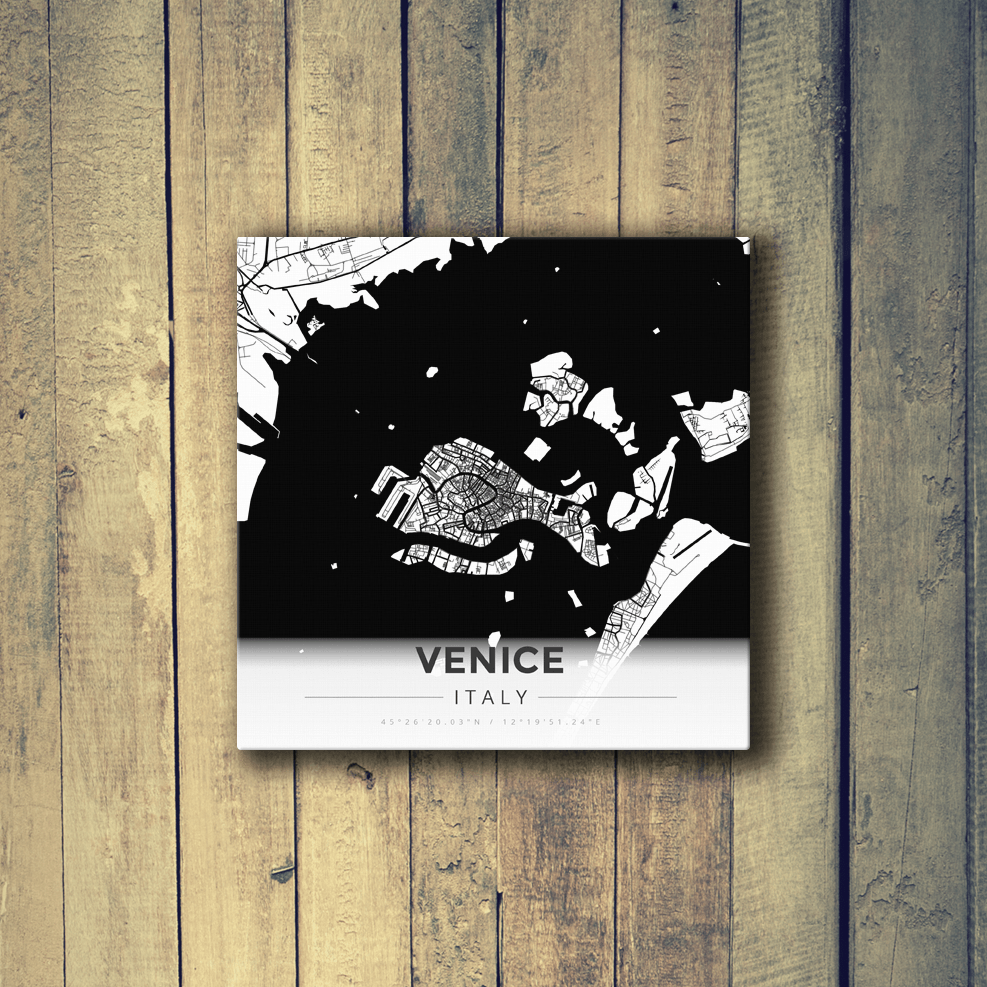 Gallery Wrapped Map Canvas of Venice Italy - Modern Black Ink - Venice Map Art