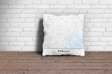 Map Throw Pillow of Tokyo Japan - Simple Ski Map