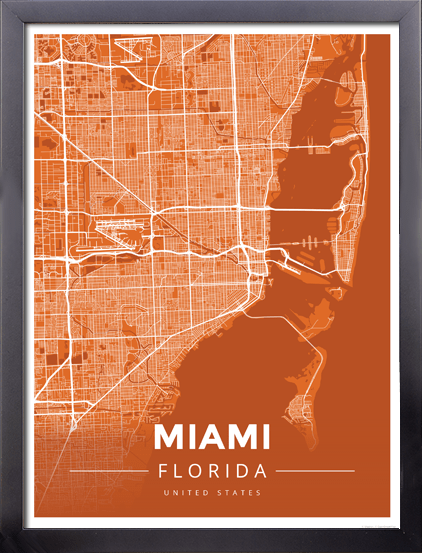 Map Of Miami Florida.Framed Map Poster Of Miami Florida Map Art Travel Decor Mapprints
