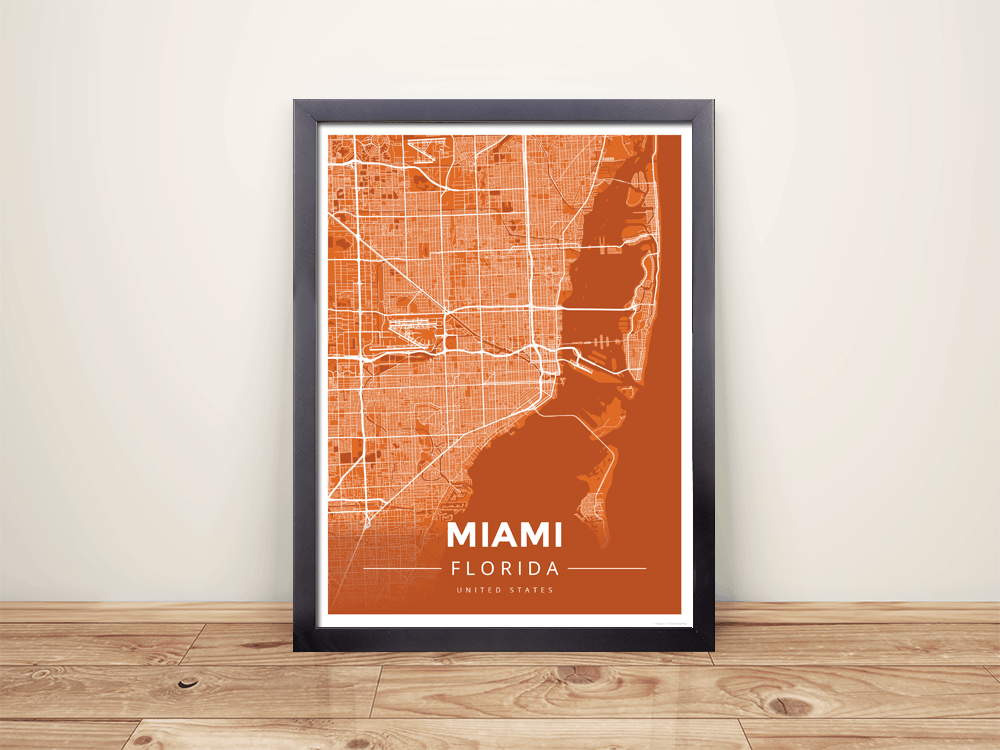 Framed Map Poster of Miami Florida - Modern Burnt - Miami Map Art