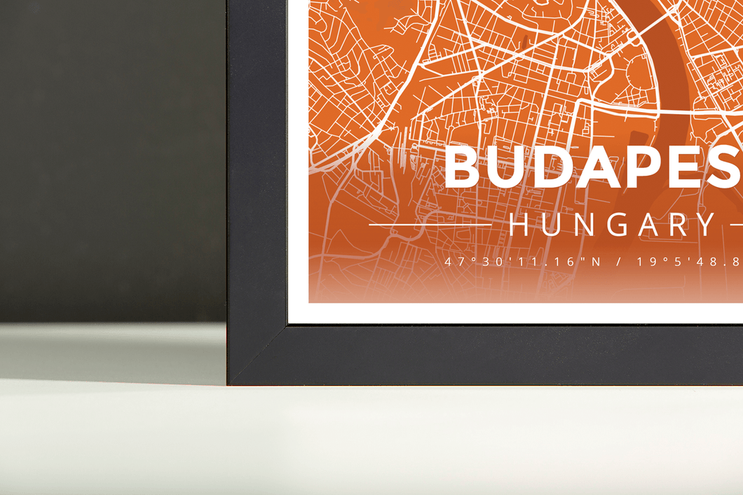 Framed Map Poster of Budapest Hungary - Modern Burnt - Budapest Map Art