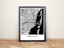 Framed Map Poster of Miami Florida - Simple Black Ink - Miami Map Art