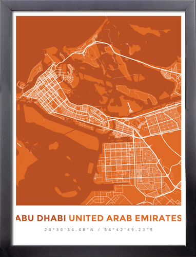 Framed Map Poster of Abu Dhabi United Arab Emirates - Simple Burnt - Abu Dhabi Map Art