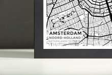 Framed Map Poster of Amsterdam Noord-Holland - Subtle Black Ink