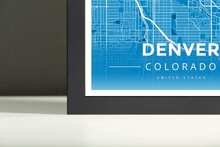 Framed Map Poster of Denver Colorado - Modern Blue Contrast - Denver Map Art