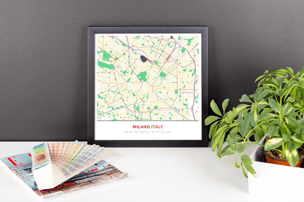 Framed Map Poster of Milano Italy - Simple Colorful