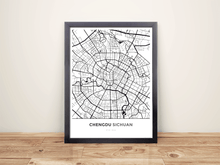 Framed Map Poster of Chengdu Sichuan - Simple Black Ink - Chengdu Map Art