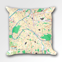 Map Throw Pillow of Paris France - Subtle Colorful