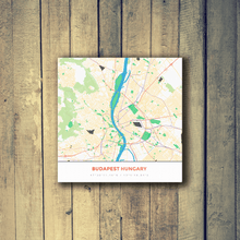 Gallery Wrapped Map Canvas of Budapest Hungary - Simple Colorful - Budapest Map Art