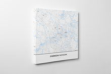 Gallery Wrapped Map Canvas of Chengdu Sichuan - Simple Ski Map - Chengdu Map Art