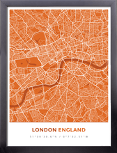 Framed Map Poster of London England - Simple Burnt