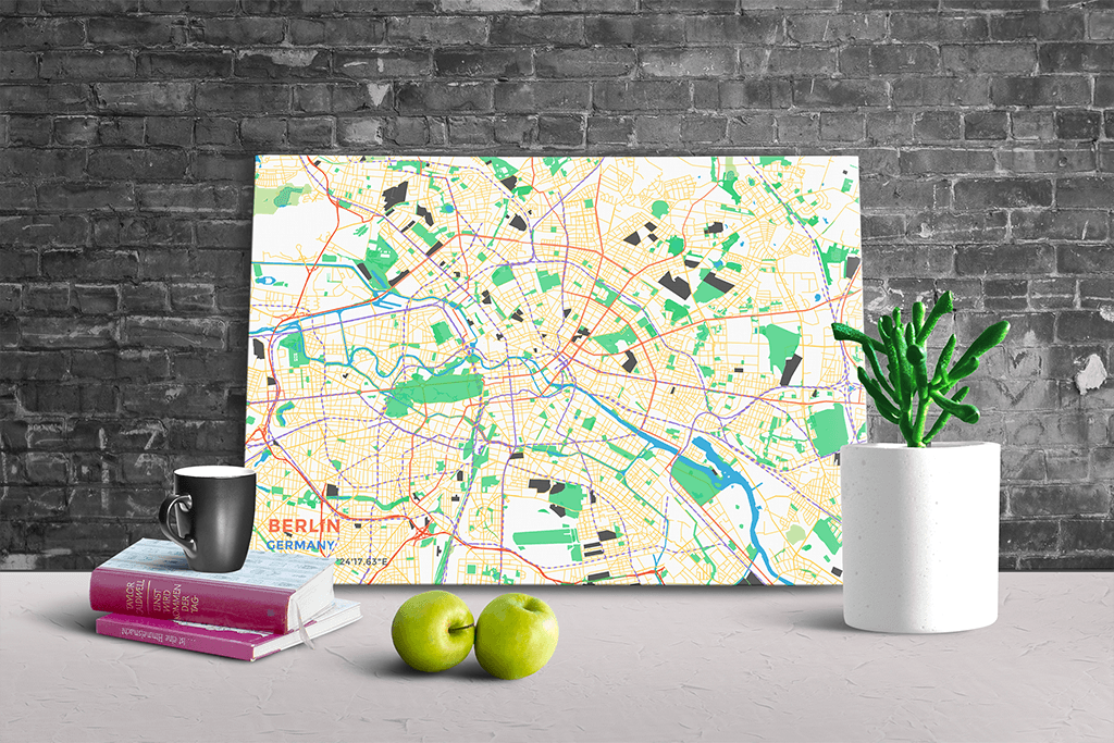Gallery Wrapped Map Canvas of Berlin Germany - Subtle Colorful - Berlin Map Art