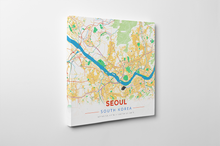 Gallery Wrapped Map Canvas of Seoul South Korea - Modern Colorful