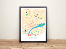 Framed Map Poster of Detroit Michigan - Modern Colorful - Detroit Map Art