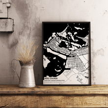 Premium Map Poster of Abu Dhabi United Arab Emirates - Subtle Black Ink - Unframed - Abu Dhabi Map Art