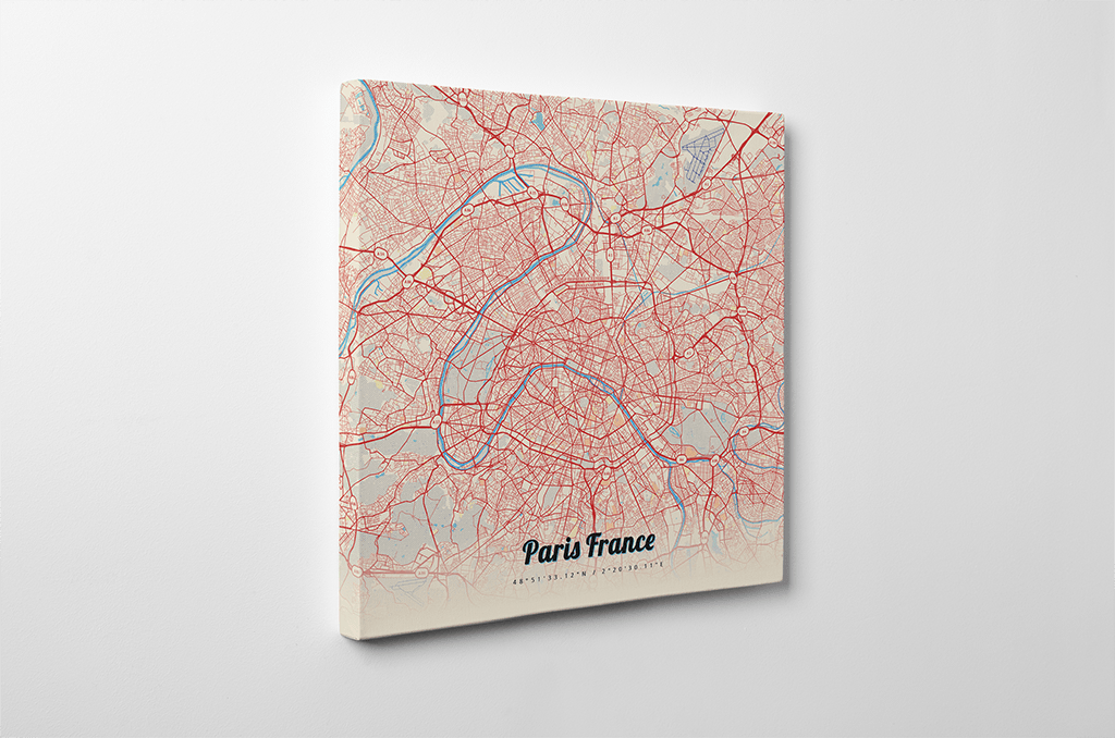 Gallery Wrapped Map Canvas Of Paris France Art Travel: Paris Map Canvas At Infoasik.co