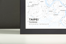 Framed Map Poster of Taipei Taiwan - Subtle Ski Map