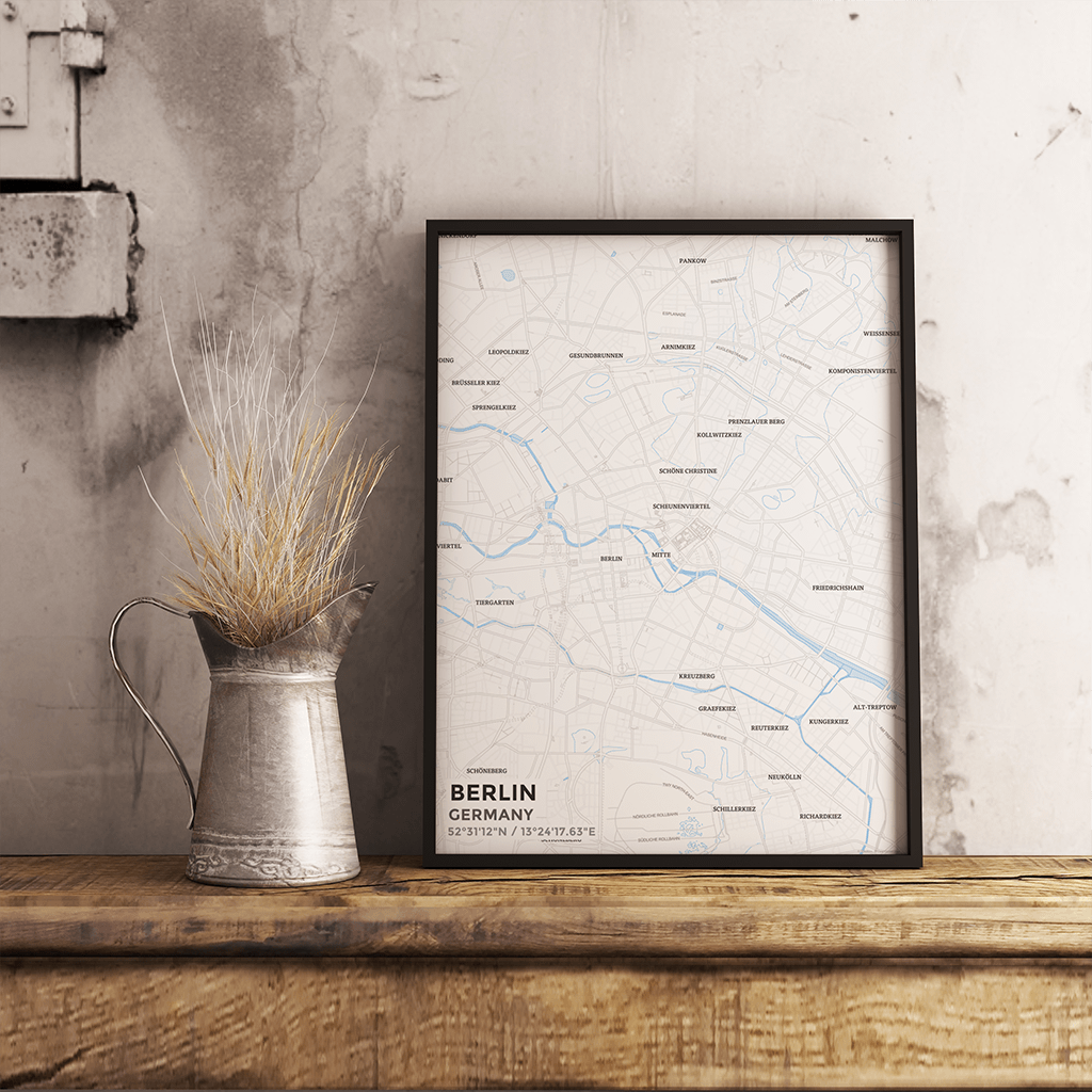 Premium Map Poster of Berlin Germany - Subtle Ski Map - Unframed - Berlin Map Art