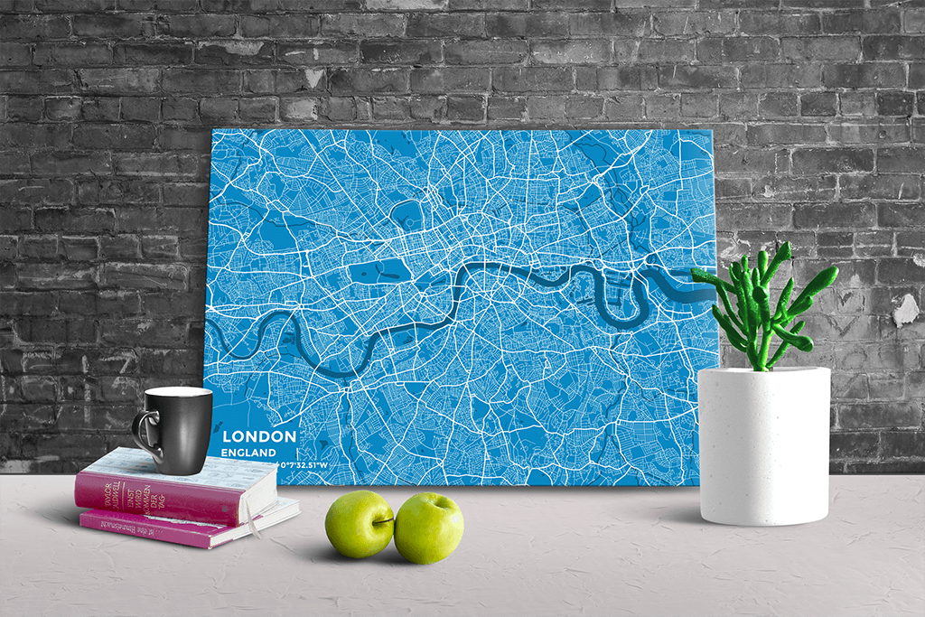 Gallery Wrapped Map Canvas of London England - Subtle Blue Contrast