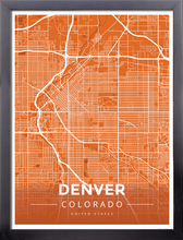 Framed Map Poster of Denver Colorado - Modern Burnt - Denver Map Art