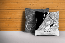 Map Throw Pillow of Dubai United Arab Emirates - Modern Black Ink