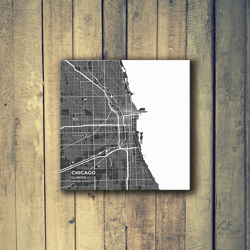 Gallery Wrapped Map Canvas of Chicago Illinois - Map Art & Travel ...