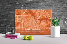 Gallery Wrapped Map Canvas of Amsterdam Noord-Holland - Modern Burnt