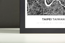 Framed Map Poster of Taipei Taiwan - Simple Contrast