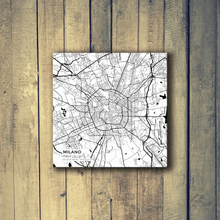 Gallery Wrapped Map Canvas of Milano Italy - Subtle Black Ink