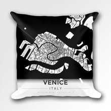 Map Throw Pillow of Venice Italy - Modern Black Ink - Venice Map Art