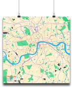 Premium Map Poster of London England - Subtle Colorful - Unframed