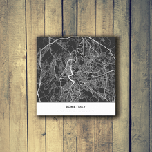 Gallery Wrapped Map Canvas of Rome Italy - Simple Contrast