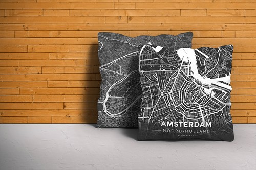 Map Throw Pillow of Amsterdam Noord-Holland - Modern Contrast