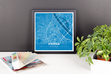 Framed Map Poster of Vienna Austria - Modern Blue Contrast