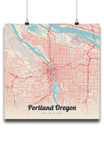 Premium Map Poster of Portland Oregon - Lobster Retro - Unframed - Portland Map Art