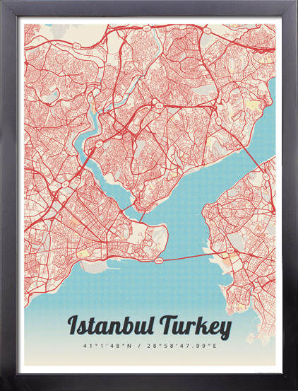 Framed Map Poster of Istanbul Turkey - Map Art & Travel Decor ...
