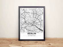 Framed Map Poster of Berlin Germany - Modern Black Ink - Berlin Map Art