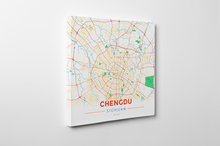 Gallery Wrapped Map Canvas of Chengdu Sichuan - Modern Colorful - Chengdu Map Art