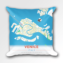 Map Throw Pillow of Venice Italy - Modern Colorful - Venice Map Art