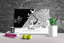 Gallery Wrapped Map Canvas of Dubai United Arab Emirates - Modern Black Ink